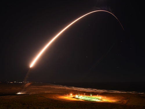 An Air Force Global Strike Command unarmed Minuteman III intercontinental ballistic missile launches during an operation test at 11:49 p.m. PT Feb. 23, 2021, at Vandenberg Air Force Base, Calif. (Brittany E. N. Murphy/Space Force)