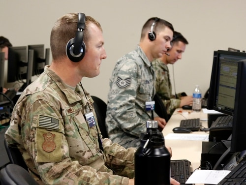 Soldiers with the Georgia Army National Guard operate a health care call center in Augusta, Ga., on April 9, 2020. (Staff Sgt. Amy King/Army)