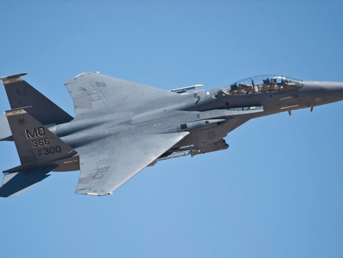 An F-15E Strike Eagle assigned to Mountain Home Air Force Base, Idaho, flies during a Red Flag 15-3 sortie at Nellis Air Force Base, Nev., in July 2015. (Siuta Ika/Air Force)