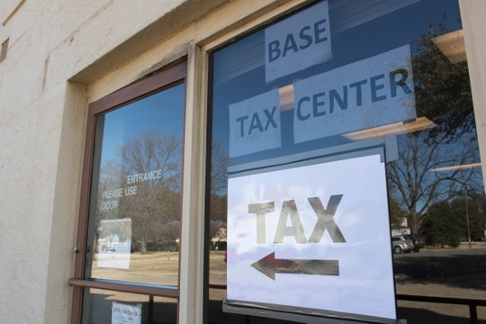 Although the pandemic has shut down some base tax centers, service members should check for a tax center operated by a base legal assistance office nearby, for free, certified tax preparation. Pictured here, the tax center at Barksdale Air Force Base, La., in 2018. (U.S. Air Force photo by Airman 1st Class Sydney Campbell)
