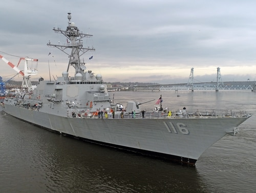 The destroyer Thomas Hudner returns to Bath Iron Works after successfully completing acceptance trials. A new Navy proposal would cut destroyer construction by 40 percent over the next five years. (Bath Iron Works)