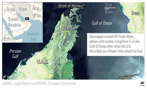 Map shows aerial satellite image of area in the Gulf of Oman, where an oil tanker was attacked.