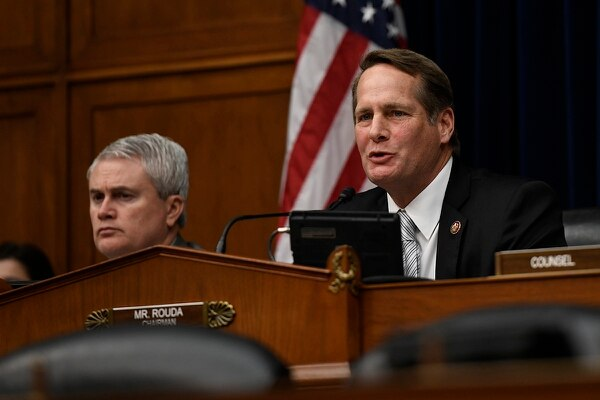 Rep. Harley Rouda, D-Calif., speaks during a House Oversight and Reform subcommittee hearing on PFAS chemicals and their risks on Wednesday, March 6, 2019, on Capitol Hill in Washington. (Sait Serkan Gurbuz/AP)