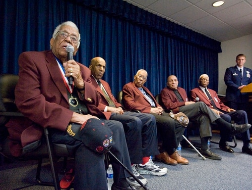 Thomas Ellis, left, joins his fellow Tuskegee Airmen as they answer questions from the audience during an event at Joint Base San Antonio-Randolph Air Force Base, Texas, Feb. 8, 2010. Ellis died Jan. 2. He was 97. (Steve Thurow/Air Force)
