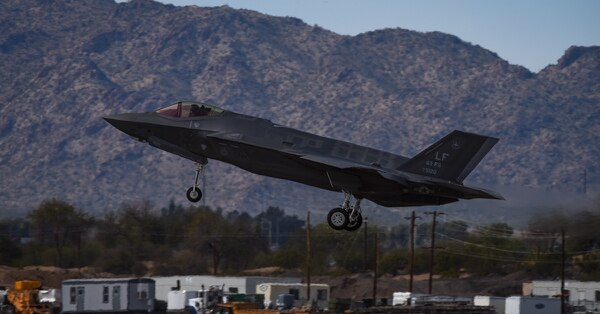 An F-35 Lightning II lands at the conclusion of the Heritage Flight during Luke Days at Luke Air Force Base, Ariz., in March 2018. (Staff Sgt. Tyler Bolken/Air Force)