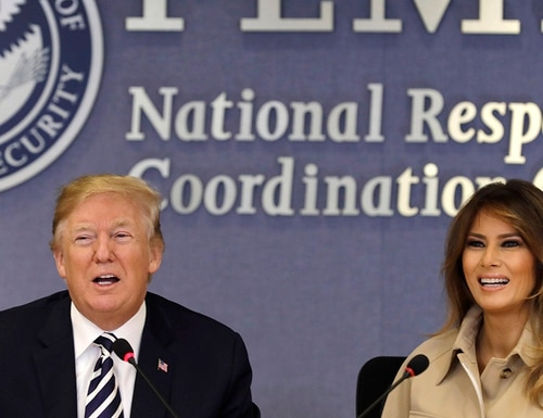 President Donald Trump and first lady Melania Trump attend the 2018 Hurricane Briefing at the Federal Emergency Management Agency Headquarters (FEMA) on June 6, 2018 in Washington, DC. The Trump administration plans to come out with a report in coming weeks with a proposal to reorganize the federal government. (Yuri Gripas - Pool/Getty Images)