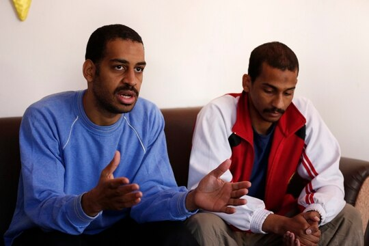 In this March 30, 2019, file photo, Alexanda Amon Kotey, left, and El Shafee Elsheikh, who were allegedly among four British jihadis who made up a brutal Islamic State cell dubbed