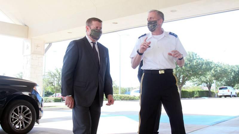 Secretary of the Army Ryan D. McCarthy with Maj. Gen. Scott L. Efflandt, deputy commanding general, III Corps, Fort Hood, Texas, on Aug. 5, 2020.