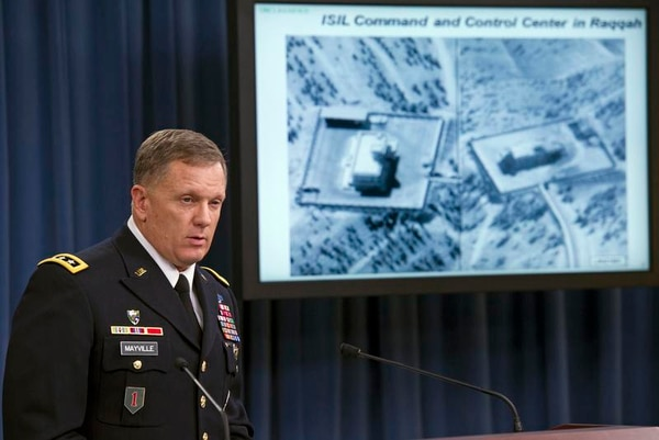Army Lt. Gen. William Mayville, Jr., then the director of operations spoke about the operations in Syria during a 2014 news conference at the Pentagon. (Cliff Owen/Associated Press)