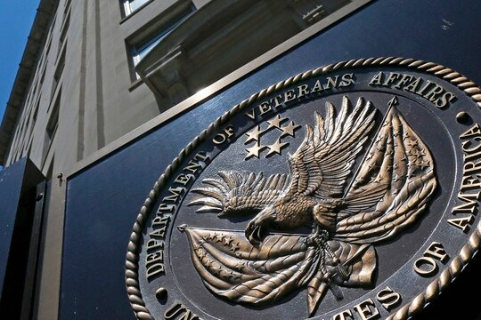 This June 21, 2013, photo shows the seal affixed to the front of the Department of Veterans Affairs building in Washington, D.C. (Charles Dharapak/AP)