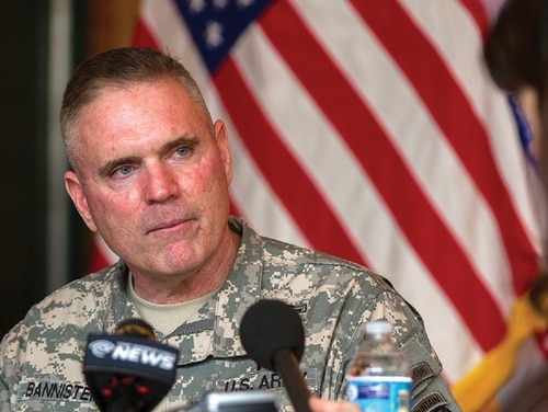 Maj. Gen. Jeffrey Bannister, then the commander of the 10th Mountain Division and Fort Drum, listens to a question during his first media event on post. Bannister died May 27, 2018, just days before he was set to retire. (Master Sgt. Kap Kim/Army)