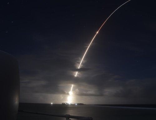 A threat-representative ICBM target launches from the Ronald Reagan Ballistic Missile Defense Test Site on Kwajalein Atoll in the Republic of the Marshall Islands on March 25, 2019. It was successfully intercepted by two long-range Ground-based Interceptors launched from Vandenberg Air Force Base, Calif.. (Courtesy of the U.S. Missile Defense Agency)