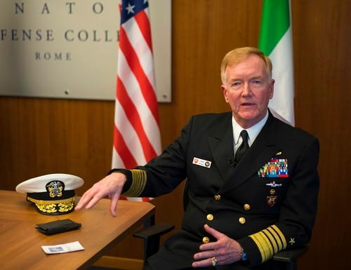 Adm. James Foggo, NATO commander for southern Europe, Mediterranean and Africa, answers questions during an interview with The Associated Press, in Rome, Monday, May 7, 2018. Foggo says Russia has taken advantage of its military role in Syria to bolster its naval presence in the eastern Mediterranean, making the region