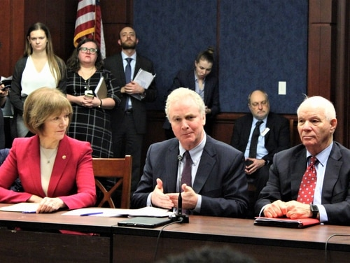 Sens. Tina Smith, D-Minn.; Chris Van Hollen, D-Md.; and Ben Cardin, D-Md., discussed legislation they hope will help federal contractors who have lost wages as part of the government shutdown. (Jessie Bur/Staff)