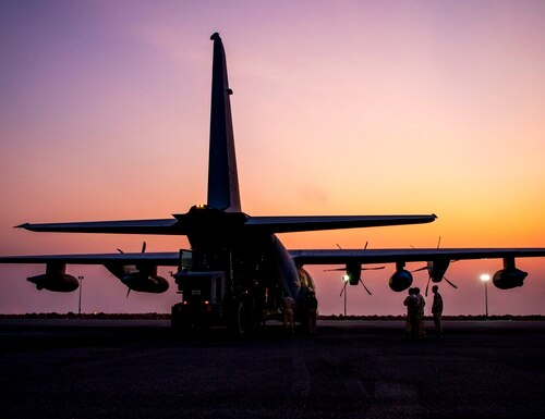 U.S. Marines attached to the Special Purpose Marine Air-Ground Task Force Crisis Response-Central Command (SPMAGTF-CR-CC) 19.2, load cargo into a KC-130J Super Hercules during a mission in Kuwait, Oct. 13, 2019. The SPMAGTF-CR-CC is designed to move with speed and precision to support operations throughout the Middle East. (Sgt. Kyle C. Talbot/Marine Corps)