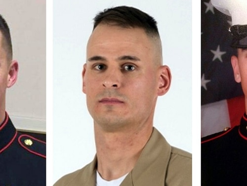 From left, Sgt. Benjamin S. Hines, 31, of York, Pa., Staff Sgt. Christopher K.A. Slutman, 43, of Newark, Del., and Cpl. Robert A. Hendriks, 25, of Locust Valley, N.Y. All three were killed on Monday, April 8, 2019, when a roadside bomb hit their convoy near Bagram Airfield in Afghanistan. (U.S. Marine Corps via AP)