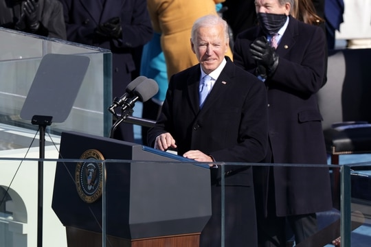 President Joe Biden delivers his inaugural address on the West Front of the U.S. Capitol on Jan. 20, 2021, in Washington. (Alex Wong/Getty Images)
