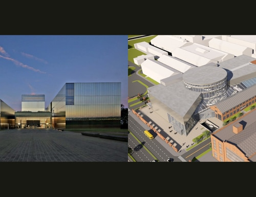 The National Museum of the United States Army (left) is set to open on Veterans Day while the National Museum of the U.S. Navy is slated to open in 2025.