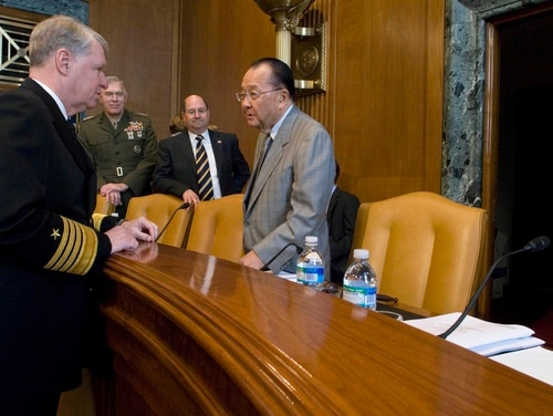 Adm. Gary Roughead, then the Chief of Naval Operations, speaks with Sen. Daniel Inouye prior to his testimony to the Senate Appropriations Committee on March 5, 2008. (Navy)
