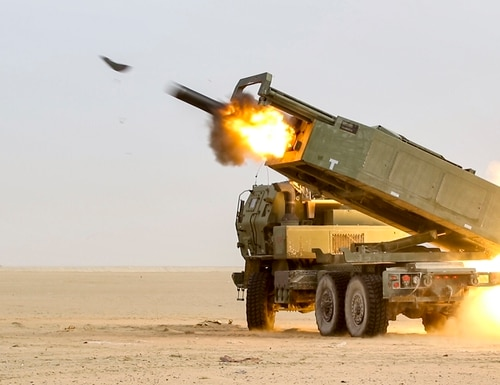 The U.S. sales involve the Lockheed Martin-made truck-mounted rocker launcher system High Mobility Artillery Rocket System. (Sgt. Bill Boecker/U.S. Army)
