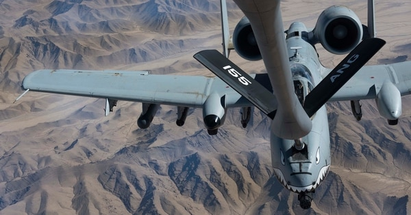 An A-10 Thunderbolt II with the 75th Expeditionary Fighter Squadron receives fuel from a KC-135 Stratotanker over Kandahar province, Afghanistan, Nov. 18. (Senior Airman Kaylee Dubois/Air Force)