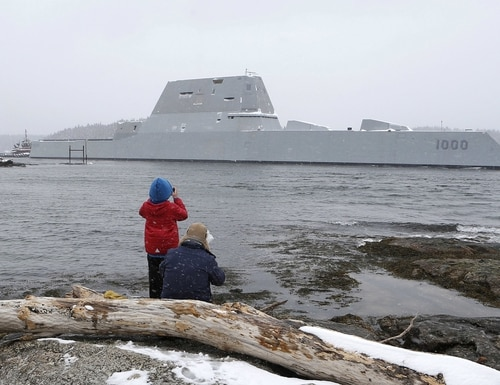 Questions have dogged the design of the Zumwalt's tumblehome hull for years. Now its captain is speaking out about how it handles high seas. (Robert F. Bukaty/AP)