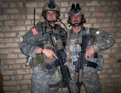 Sgt. 1st Class Tim Brumit who broke his neck in a July 25 swimming accident in Florida. with Randy Brumit, while serving in Iraq together in 2007 with Tim assigned to the 1/75th Ranger Battalion and Randy serving as a civilian consultant to the U.S. military. Courtesy of Randy Brumit