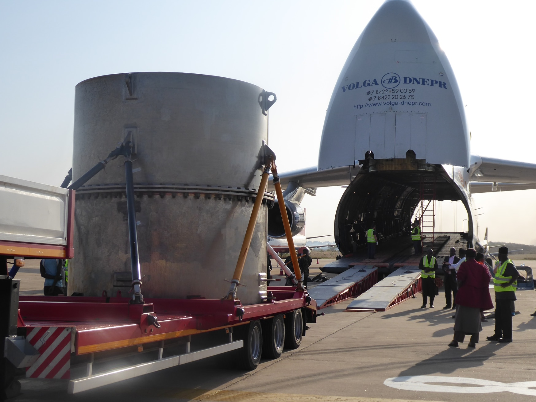 The TUK-145/C, carrying a load of highly enriched uranium from the Nigerian reactor, is loaded onto a plane headed for its final destination: China. (U.S. National Nuclear Security Administration)
