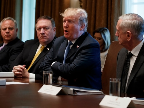 President Donald Trump speaks during a cabinet meeting at the White House, Thursday, June 21, 2018, in Washington. From left, Deputy Secretary of Interior David Bernhardt, Secretary of State Mike Pompeo, Trump, and Secretary of Defense Jim Mattis. (Evan Vucci/AP)