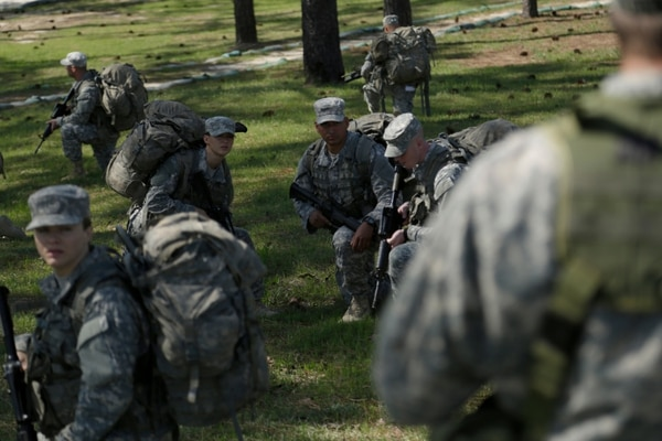 U.S. Army Soldiers practice battle drill movements for the Ranger Training Assessment Course (RTAC) at Camp Butler on Fort Benning, Ga., April 4, 2015. The Soldiers are participating in RTAC for preparation and selection into Ranger School. (U.S. Army photo by Sgt. Paul Sale/Not Released)