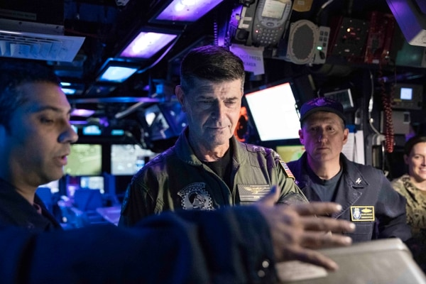 Vice Chief of Naval Operations Adm. Bill Moran listens to sailors on board the guided-missile cruiser Leyte Gulf, which was sailing the Atlantic Ocean on Feb. 20. (Mass Communication Specialist 3rd Class Clint Davis/Navy)