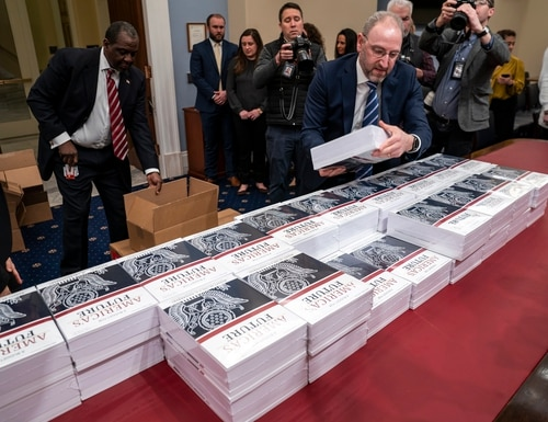 President Donald Trump's budget request for fiscal 2021 arrives at the House Budget Committee on Capitol Hill in Washington on Feb. 10, 2020. (J. Scott Applewhite/AP)
