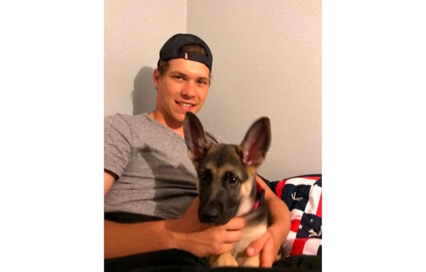 This 2018 photo provided by Morgan Kuznia shows Riley Kuznia at his family's home in Karlstad, Minnesota. (Morgan Kuznia via AP)