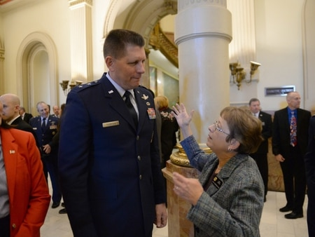 Colorado Representative Terri Carver, right, speaks with Maj. Gen. David Thompson, Vice Commander of Air Force Space Command, during Military and Veterans Appreciation Day at the Capital. (Photo by Michael Pierson for Air Force Space Command)