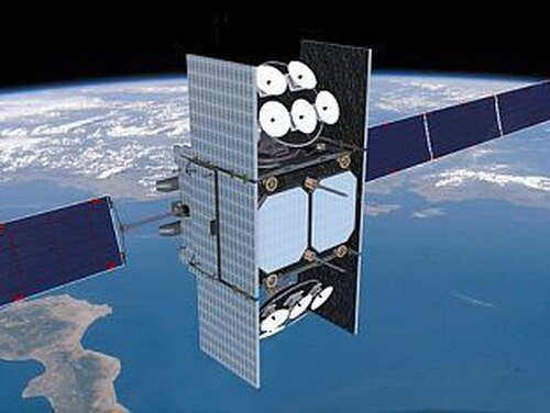 Here's an artist's rendition of a Wideband Global Satellite in orbit. This family of satellites often provides communication for the Department of Defense. (Air Force Space Command)