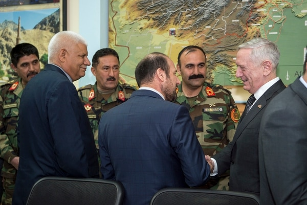 Secretary of Defense Jim Mattis speaks with Afghanistan's Minister of Interior Affairs Mohammad Jahid and Afghanistan's Minister of Defense Abdullah Habibi at the Resolute Support Headquarters in Kabul, Afghanistan, in April 2017. (Tech. Sgt. Brigitte Brantley/Air Force)