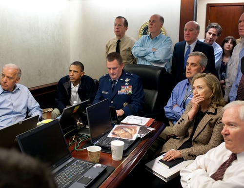 President Barack Obama and Vice President Joe Biden, along with with members of the national security team, receive an update on the mission against Osama bin Laden in the Situation Room of the White House, May 1, 2011. (Pete Souza/White House)