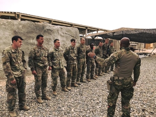 1st SFAB soldiers receive their combat patches while deployed to Afghanistan. (Photo credit: 6th Battalion, 1st SFAB)