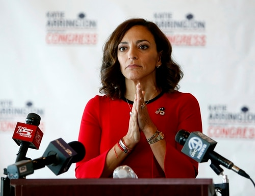 In this Nov. 7, 2018, file photo, Republican nominee for Congress Katie Arrington concedes the race to Democrat Joe Cunningham during a news conference at the Staybridge Suites in Mount Pleasant, S.C. (Mic Smith/AP)
