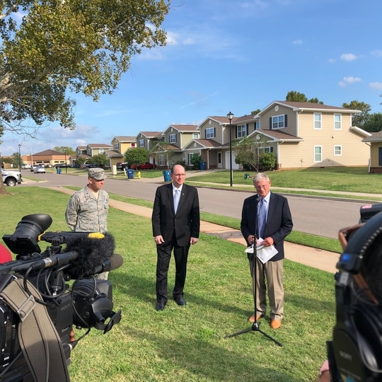 Sen. Jim Inhofe, R-Okla., holds a press conference last year to discuss housing problems at Tinker AFB. (Courtesy office of Sen. Jim Inhofe)