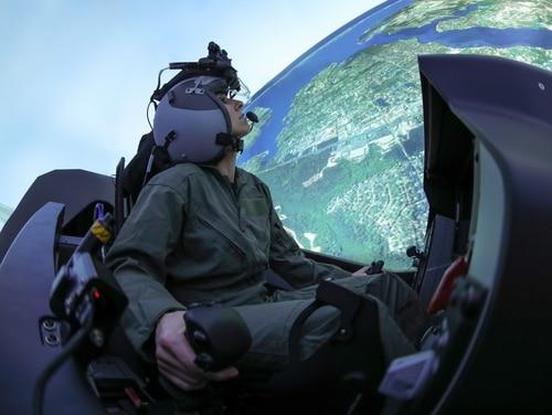 An F-35 pilot trains in a simulator. (Lockheed Martin)