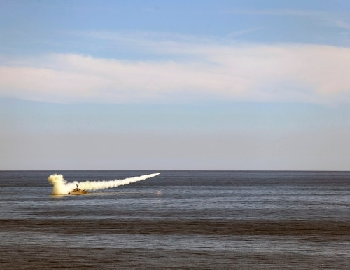 In this image released Thursday, Jan. 14, 2021, by the Iranian Army, a missile is launched from a warship during a naval drill. (Iranian Army via AP)