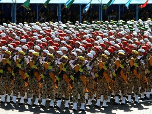 Iranian soldiers march during a parade marking the country's Army Day on April 18, 2017, in Tehran. (Atta Kenare/AFP via Getty Images)