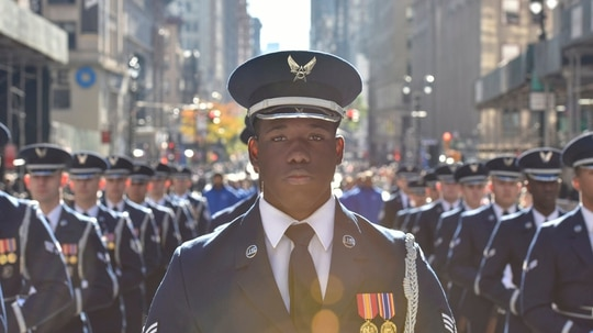 U.S. Air Force Senior Airman Jamar Jackson, a United States Air Force Honor Guard ceremonial guardsman, marches in the Veterans Day Parade in New York on Nov. 11, 2018. The Honor Guard performed in the parade to honor veterans and to inspire, recruit and retain future airmen. (Airman 1st Class Michael S. Murphy/Air Force)
