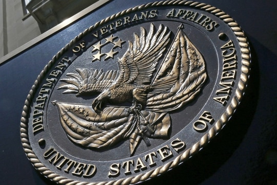 In this June 21, 2013, file photo, the seal affixed to the front of the Department of Veterans Affairs building in Washington. (Charles Dharapak/AP)