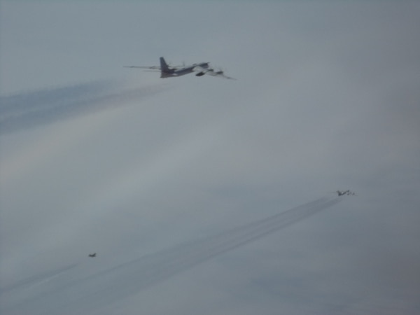 Russian aircraft are intercepted by NORAD jets on May 20 off the coast of Alaska. (NORAD)