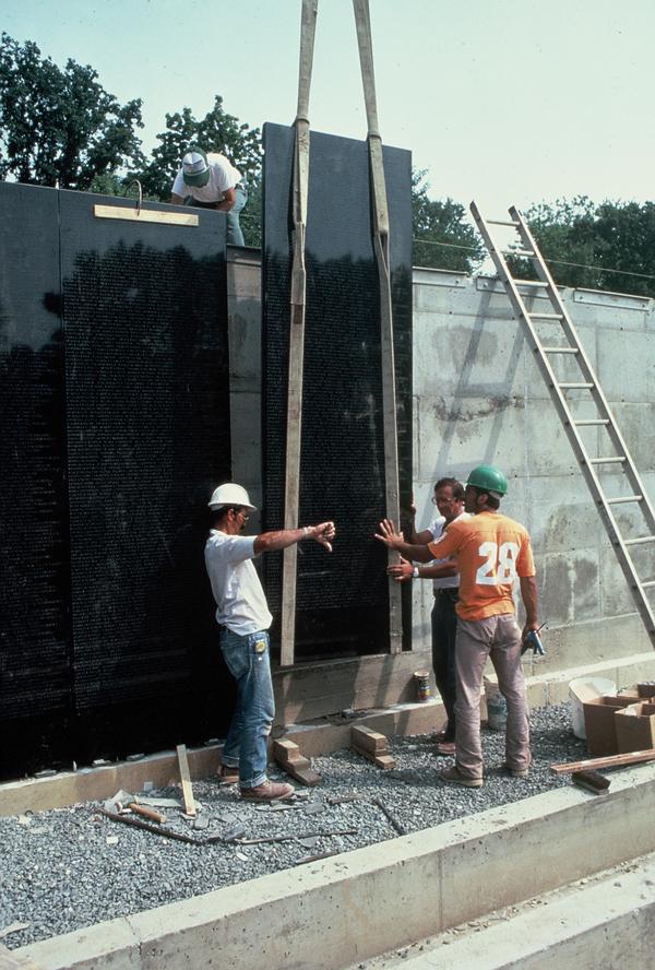 In September 1982, granite panels are put in place at the Vietnam Veterans Memorial. (Courtesy photo via Robert W. Doubek)