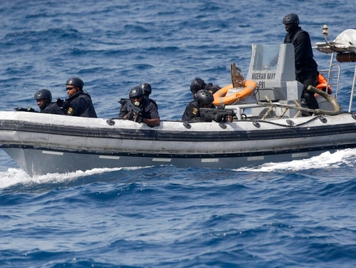 On Wednesday, Nigeria Naval Special Forces patrol during a joint navy exercise in the Gulf of Guinea. (Sunday Alamba/AP)