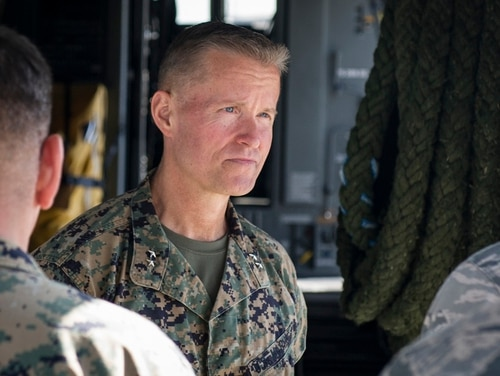 Marine Maj. Gen. Carl E. Mundy, III, the commander of U.S. Marine Corps Forces, Special Operations Command, talks with Air Commandos during a visit to gain insight into Air Force Special Operations Command capabilities at Hurlburt Field, Fla., Oct. 27, 2016. (Airman 1st Class Joseph Pick/ Air Force)