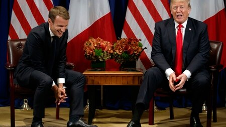 President Donald Trump jokes with French President Emmanuel Macron during a meeting at the Palace Hotel during the United Nations General Assembly, Monday, Sept. 18, 2017, in New York. (Evan Vucci/AP)